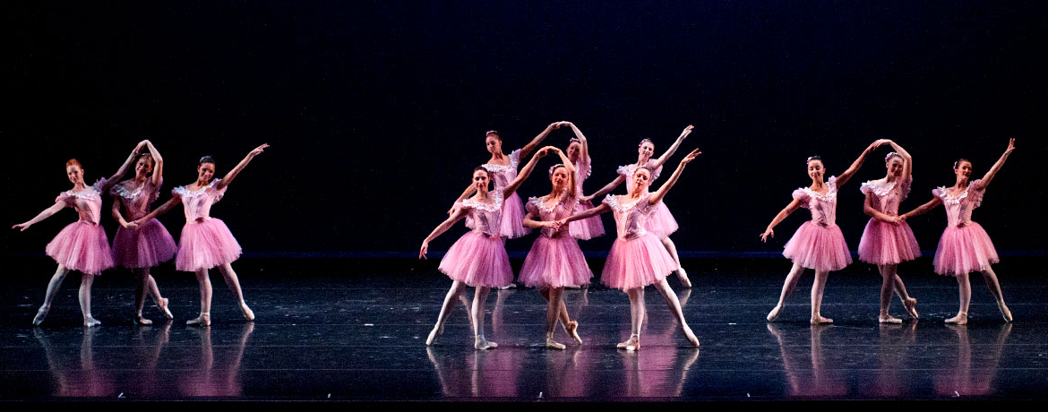 students on stage in a ballet production at the Koger Center for the Arts